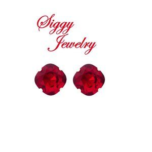Swarovski® Crystal Siam Red Square Stud Earrings